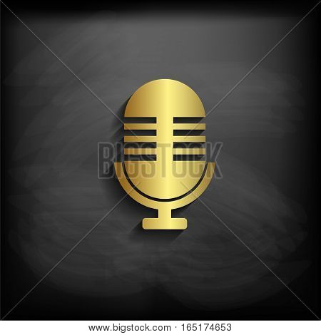 Microphone Sign Or Symbol Gold Color With Long Shadow, Vector