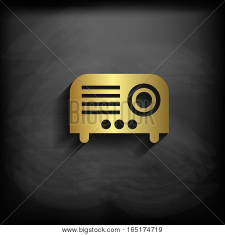 Projector Sign Icon Gold Color With Long Shadow,vector Eps10 Illustration