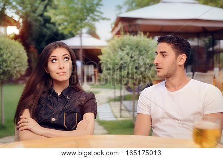 Couple Arguing on a Date at a Restaurant