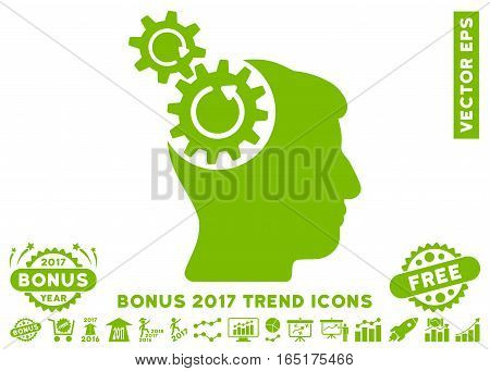 Eco Green Head Cogs Rotation pictogram with bonus 2017 trend elements. Vector illustration style is flat iconic symbols white background.