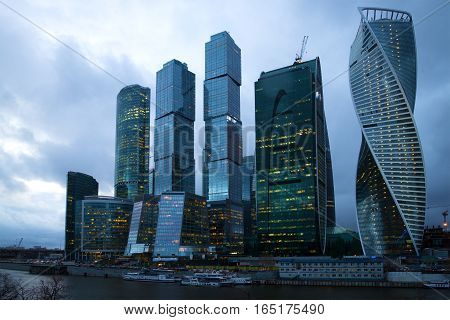 MOSCOW, RUSSIA - APRIL 14 2015: Modern high-rise complex