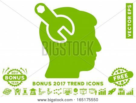 Eco Green Head Neurology Wrench pictogram with bonus 2017 year trend images. Vector illustration style is flat iconic symbols white background.