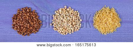 Heap Of Various Groats On Wooden Boards, Healthy Food And Nutrition, Copy Space For Text