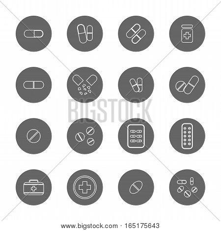 drug thin line icons set,vector Illustration EPS10