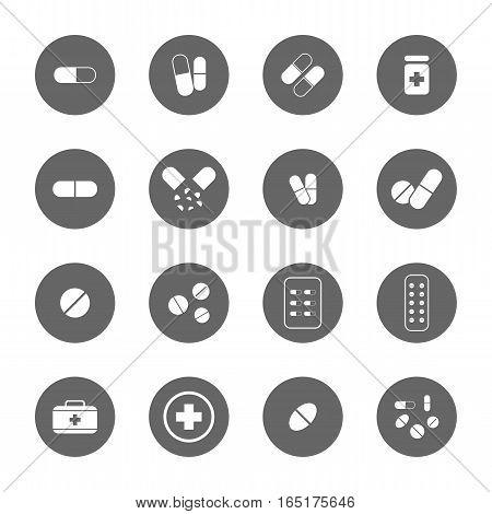 drug icons set,vector graphic design Illustration EPS10