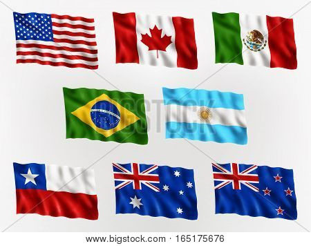Illustration of waving flags of Americas and Australia isolated flag icon EPS 10 contains transparency.