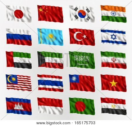 Illustration of waving flags of Asia isolated flag icon EPS 10 contains transparency.
