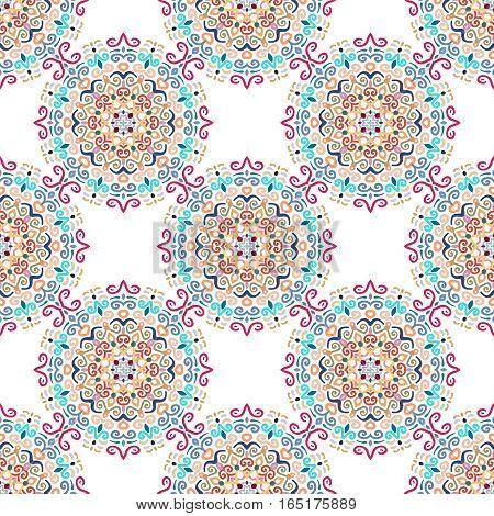 Floral Seamless Pattern. Colorful mandala decoration. Stylized flower background. Flourish round ornament vector. Intricate luxury decoration. Furniture fabric print wallpaper. Interior design element
