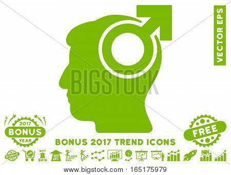 Eco Green Intellect Potency pictograph with bonus 2017 year trend images. Vector illustration style is flat iconic symbols white background.