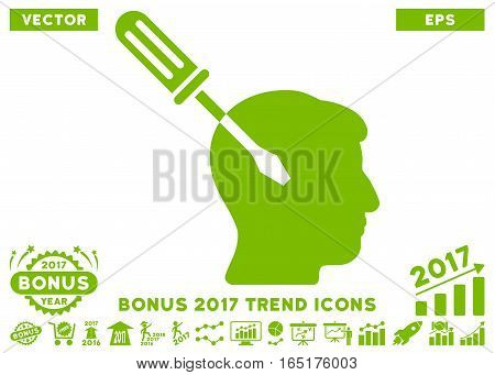 Eco Green Intellect Screwdriver Tuning icon with bonus 2017 trend pictograph collection. Vector illustration style is flat iconic symbols white background.