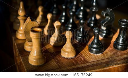 chess stalemate confrontation on a dark background