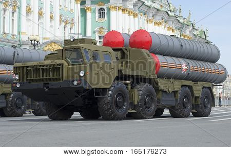 SAINT PETERSBURG, RUSSIA - MAY 05, 2015: Anti-aircraft missile system s-300PM closeup. Rehearsal of parade in honor of Victory Day in St. Petersburg