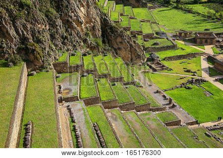 Terraces Of Pumatallis At The Inca Fortress In Ollantaytambo, Peru
