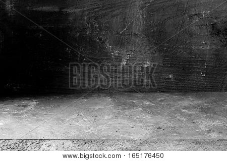 Empty black painted boards abstract grunge background