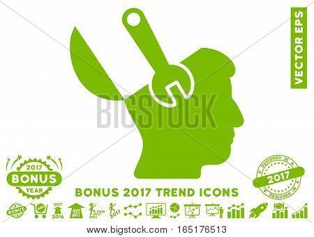 Eco Green Mind Wrench Surgery pictogram with bonus 2017 trend symbols. Vector illustration style is flat iconic symbols white background.