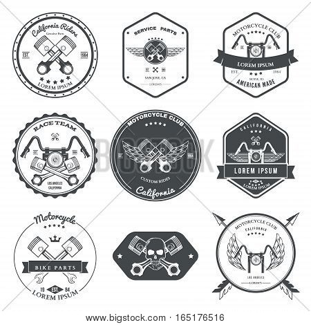 Race Bikers Garage Repair Service Emblems and Motorcycling Clubs Tournament Labels Collection isolated. Vector illustration