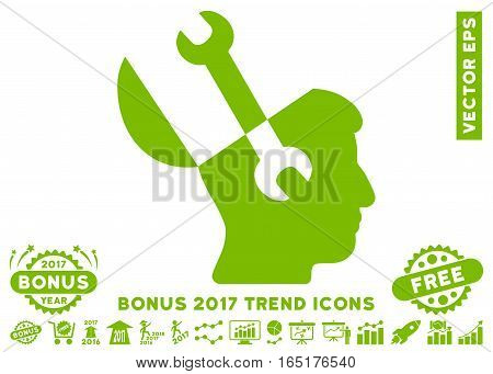 Eco Green Mind Wrench Tools pictograph with bonus 2017 trend icon set. Vector illustration style is flat iconic symbols white background.