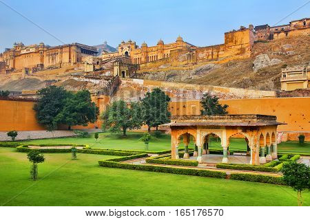 Amber Fort near Jaipur in Rajasthan India. Amber Fort is the main tourist attraction in the Jaipur area. poster
