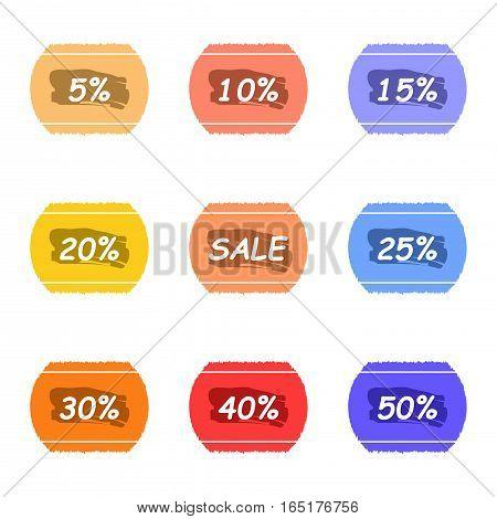 sale and percentage tear sticker with ink label set,vector Illustration EPS10