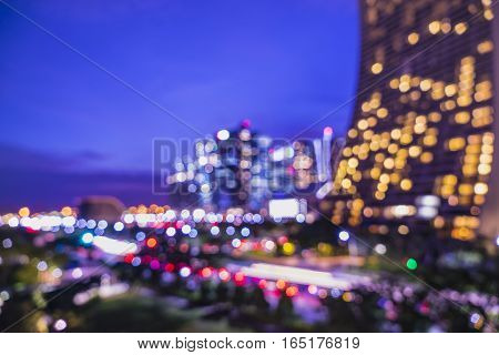 abstract night cityscape light bokeh on twilight time - can use to display or montage on product