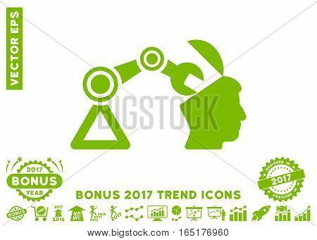 Eco Green Open Head Surgery Manipulator pictogram with bonus 2017 year trend icon set. Vector illustration style is flat iconic symbols white background.
