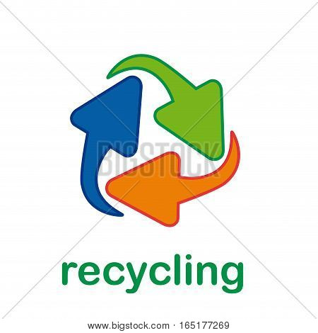 Vector simple sign recycle, isolated illustration on white