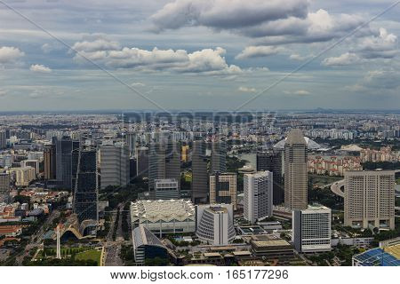abstract day time of urban cityscape and cloudscape on rooftop view - can use to display or montage on product