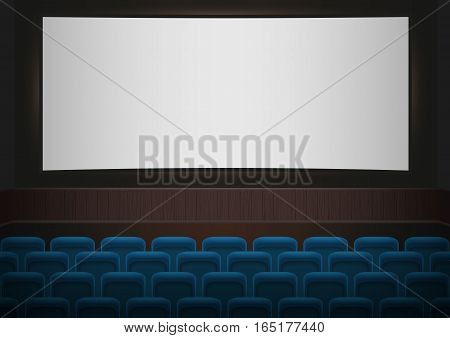 Interior of a cinema movie theatre. Blue cinema or theater seats in front of white blank screen. Empty Cinema auditorium vector background