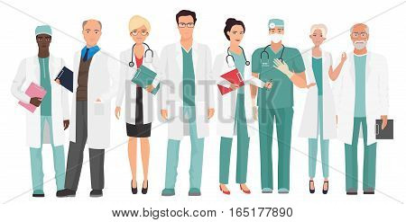 Hospital medical staff Team doctors together. Group of doctors and nurses people character set