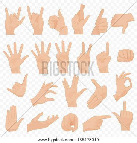 Realistic human hands icons and symbols set. Emoji hand icons. Different gestures, hands, signals and signs emotions vector illustration
