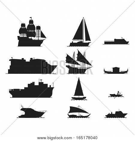 Ship and boats sea silhouette vessel travel industry vector. Symbol of sailboats and cruise. Set of marine icon commercial design element. Export business trade water cargo transportation.