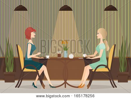 Two young women drinking coffee in the cafe restaurant. Lady girls lunch together