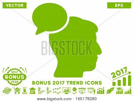 Eco Green Person Idea icon with bonus 2017 year trend pictograms. Vector illustration style is flat iconic symbols white background.