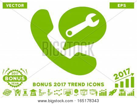 Eco Green Phone Service Message pictogram with bonus 2017 year trend pictograms. Vector illustration style is flat iconic symbols white background.