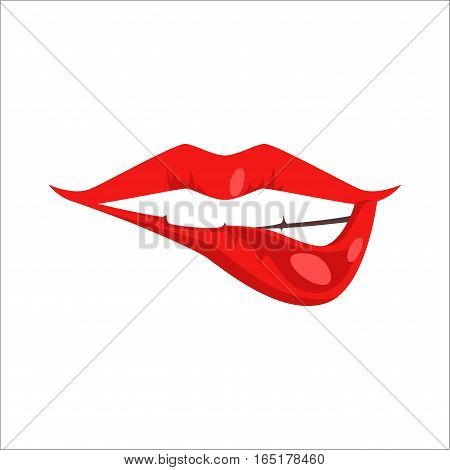 High detailed glossy woman lips and mouth vector illustration. Valentine human sensuality element. Beautiful love female symbol glamour and shiny design.