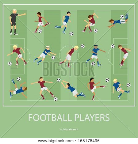 Set of football players. Football player flat. Football player design. Football player illustration. Football player Vector. Football player Picture. Football player Image. Football player Art. Football player EPS.