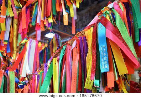 PENANG MALAYSIA- 29 DECEMBER 2016: Wish ribbons in chinese buddhist Kek lok Si temple Malaysia