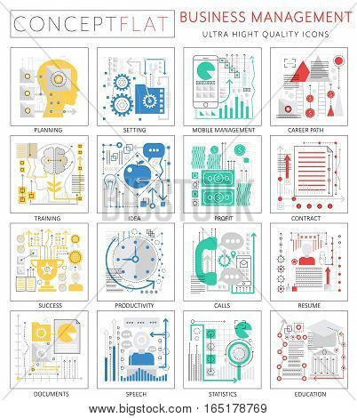Infographics mini concept Business management icons for web. Premium quality design web graphics icons elements. Business management concepts
