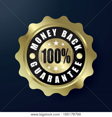 Money Back 100% Guaranteed Gold Label vector