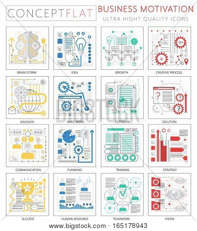 Infographics mini concept business motivation icons for web. Premium quality design web graphics icons elements. business motivation discipline concepts