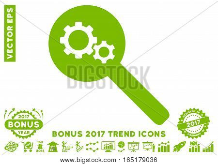 Eco Green Search Gears Tool pictogram with bonus 2017 year trend pictograms. Vector illustration style is flat iconic symbols white background.