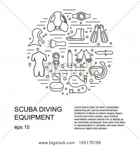 Scuba diving vector illustration with different equipment symbols Place for your text. eps10