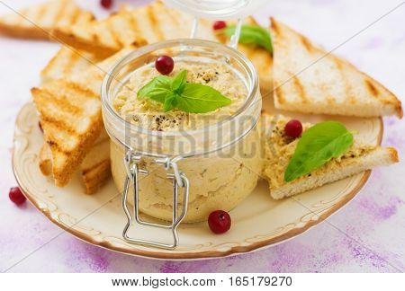 Pate Chicken - Rillette, Toast And Herbs On A Plate