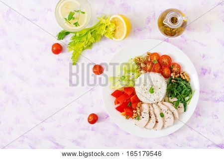 Diet Food. Chicken Breast With Rice And Vegetables. Healthy Lifestyle. Sports Nutrition. Flat Lay. T