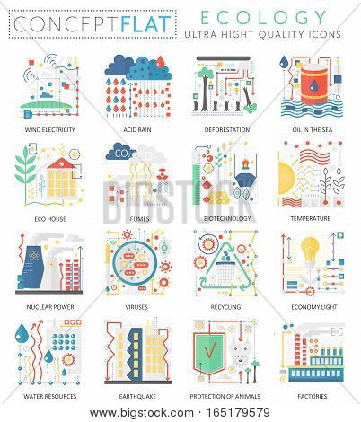 Infographics mini concept green Ecology icons for web. Premium quality color conceptual flat design web graphics icons elements. Ecology technology concepts