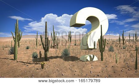 Huge question mark in the hot desert sand on a sunny day problem without solution concept 3D illustration