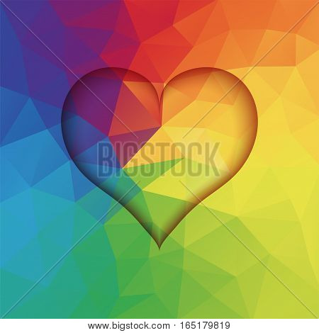Abstract geometric rumpled triangular color wheel low poly background style with heart shape. Vector illustration