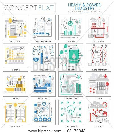 Infographics mini concept Heavy and power industry icons for web. Premium quality design web graphics icons elements. Heavy power industry concepts
