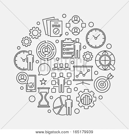 Project Management circle illustration. Vector round business planning and strategy symbol made with thin line icons