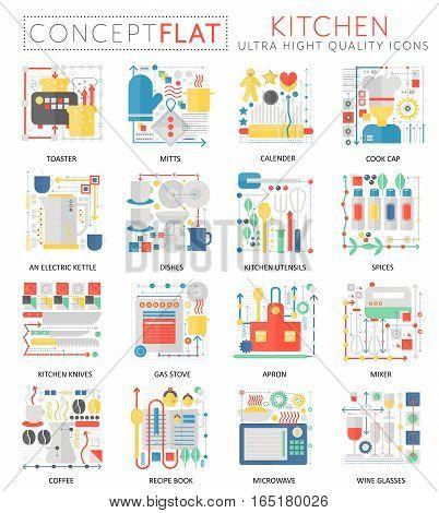 Infographics mini concept Kitchen tools icons for web. Premium quality color conceptual flat design web graphics icons elements. Kitchen concepts